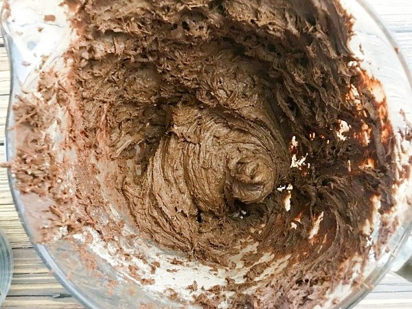 Get this buckeye craft project underway by mixing the brownie mix, egg, butter, and cream cheese together to form dough