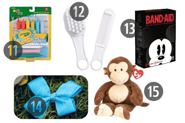 Cheap stocking stuffers for 3-4 year olds include hair accessories, stuffed animals, and band-aids with their fav characters