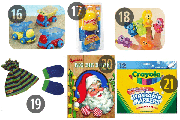 For stocking stuffers for 3 year olds consider finger puppets, mittens, and coloring supplies like washable markers