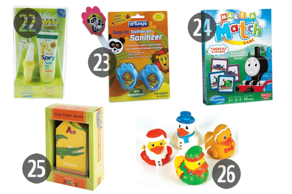 Stocking stuffers for 3 year old boys include fun bath toys, a special toothbrush-toothpaste combo, and games