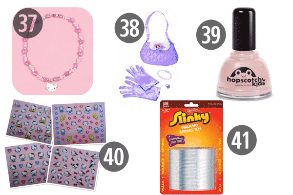 Ideas for stocking stuffers for 9 year olds include nail polish, jewelry, and toys like a classic Slinky