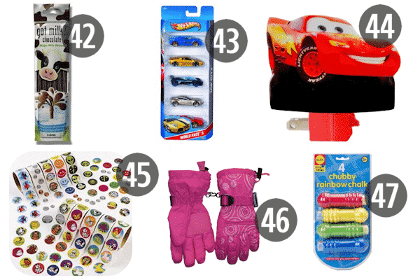 Need stocking stuffers for 9 year old boys? Try stickers, Hot Wheels, or the ever practical winter wear like gloves