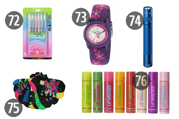 Whether you need stocking stuffers for adult children or for kids, watches, socks, or pens (glitter or not) are good options