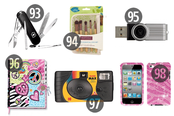 Pocket knives, phone cases, and makeup brushes make great stocking stuffers for adult children