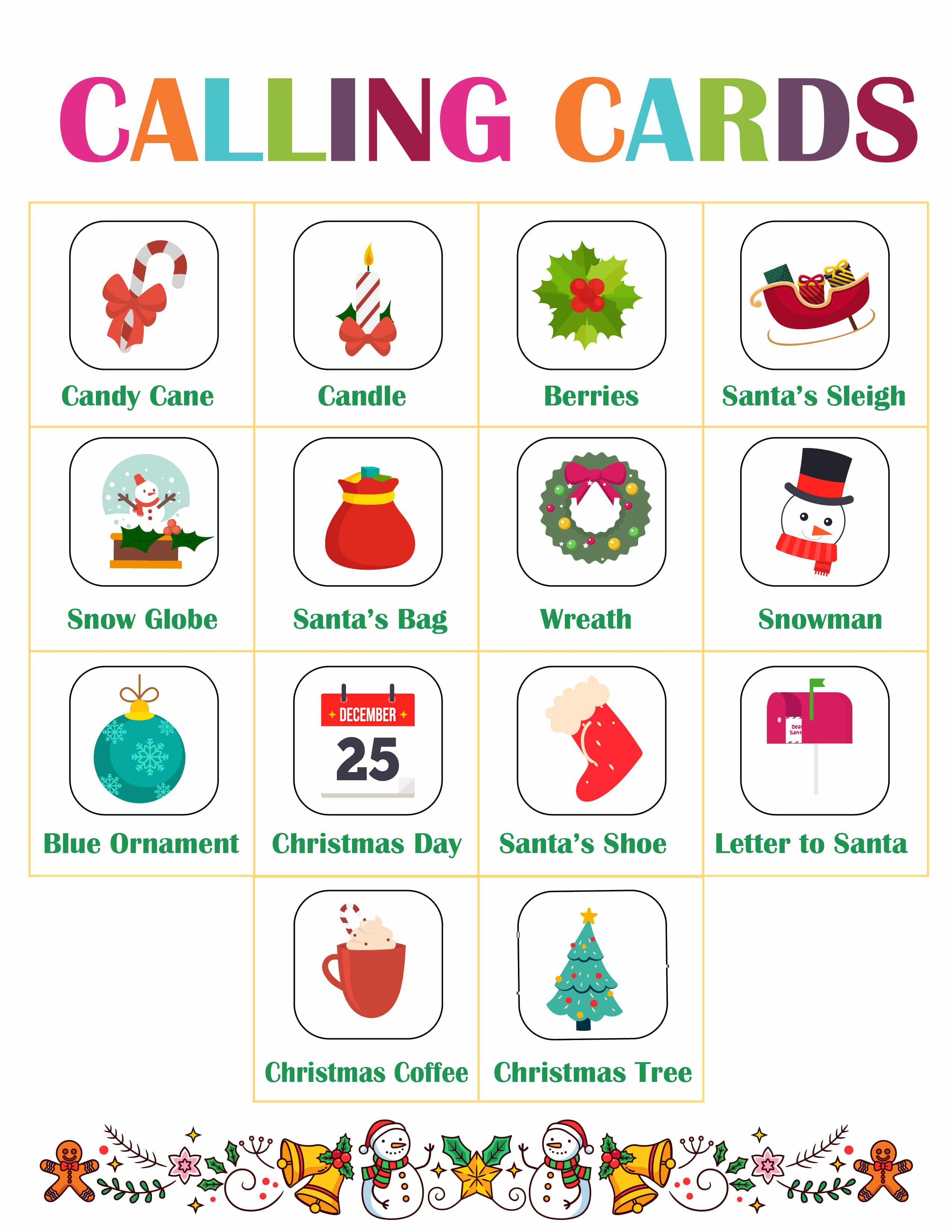 Christmas Bingo game calling cards printable