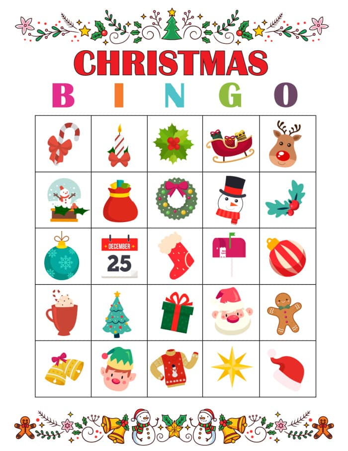 Filled with festive images, this Christmas Bingo game, with printable Christmas Bingo cards, is frugal fun for the whole fam!