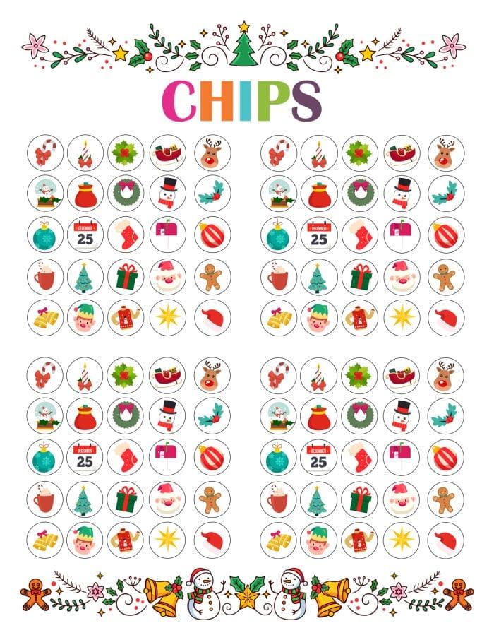 Christmas Bingo game chips printable