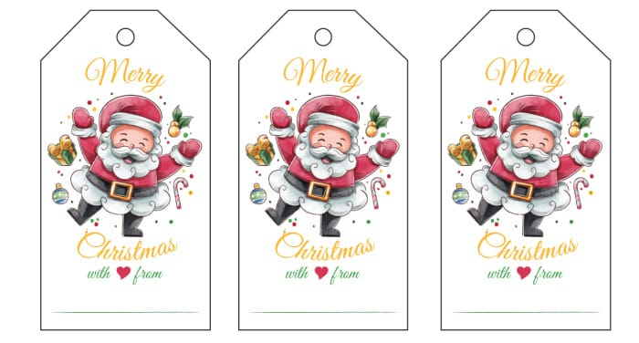 This printable Christmas label features a very merry Saint Nick with room for you to write who the gift is from