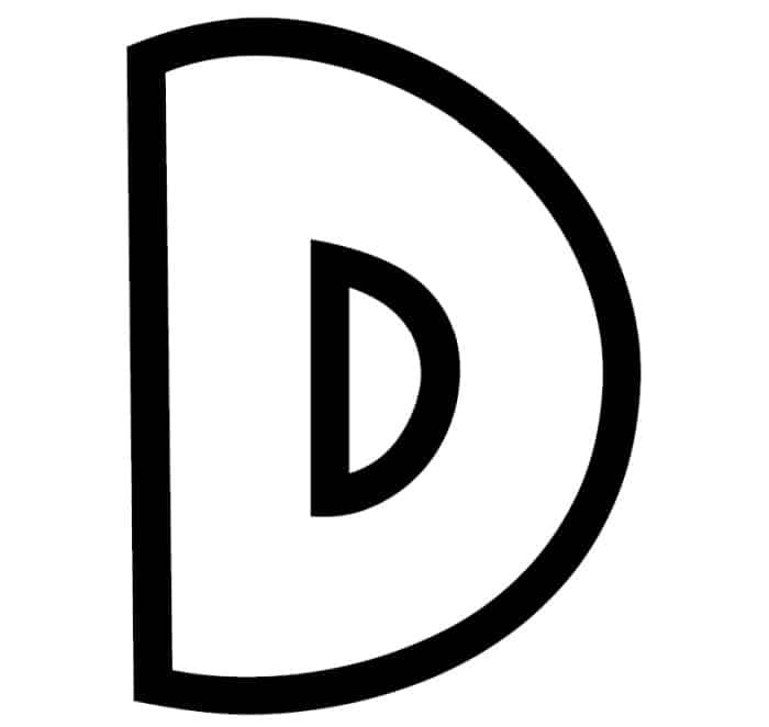 Free Printable Bubble Letter Stencils: Bubble Letter D Stencil