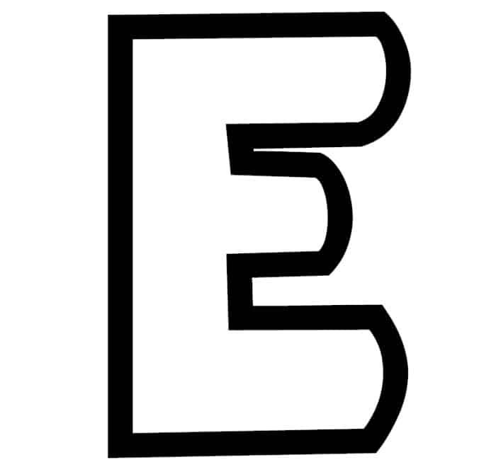 Free Printable Bubble Letter Stencils: Bubble Letter E Stencil