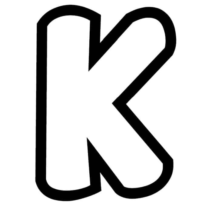 Free Printable Bubble Letter Stencils: Bubble Letter K Stencil