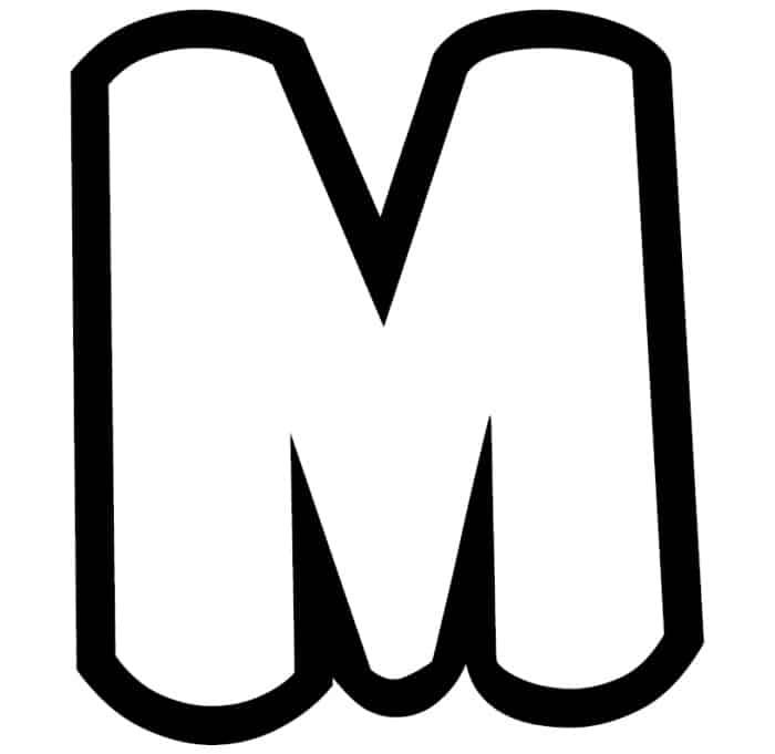 Free Printable Bubble Letter Stencils: Bubble Letter M Stencil