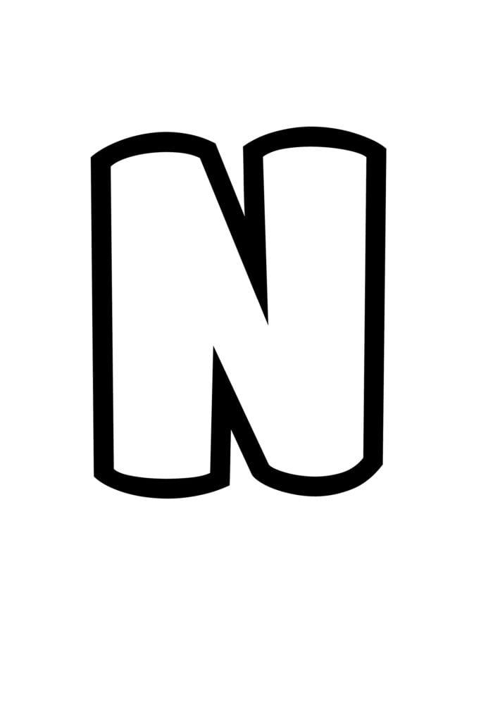 free printable bubble letter stencils bubble letter N stencil