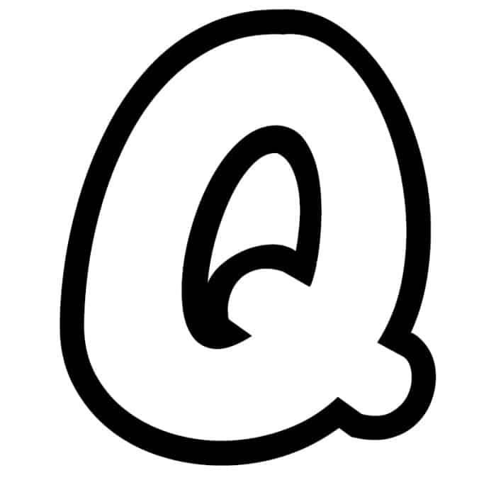 Free Printable Bubble Letter Stencils: Bubble Letter Q Stencil