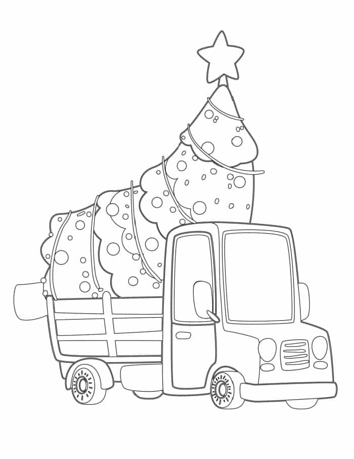 A pre-decorated tree is ready to bring home in these fun Christmas tree coloring pages for kids and adults!