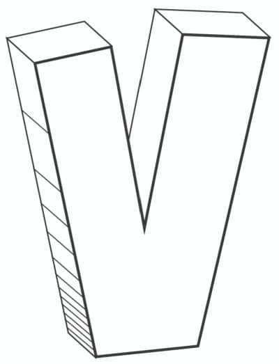 Free Printable Cool Bubble Letters: Bubble Letter V