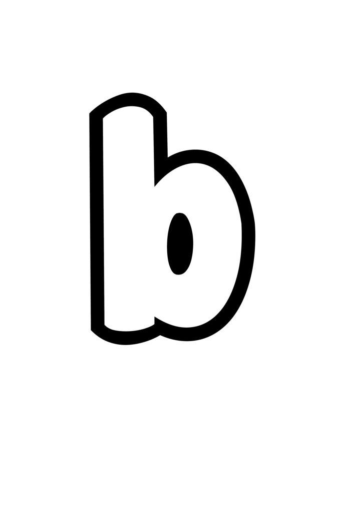 free printable lowercase B bubble letter stencil
