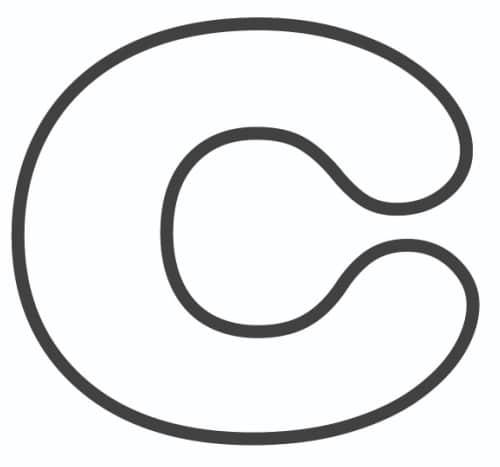 Free Printable Lowercase Bubble Letters: Lowercase C Bubble Letter