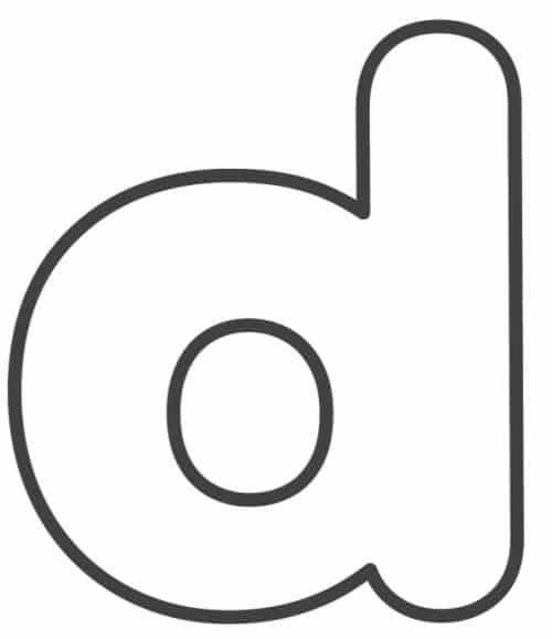 Free Printable Lowercase Bubble Letters: Lowercase D Bubble Letter