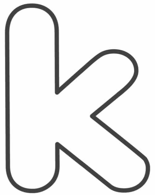 Free Printable Lowercase Bubble Letters: Lowercase K Bubble Letter