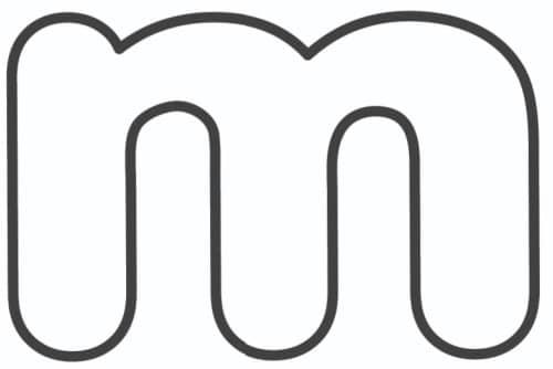 Free Printable Lowercase Bubble Letters: Lowercase M Bubble Letter