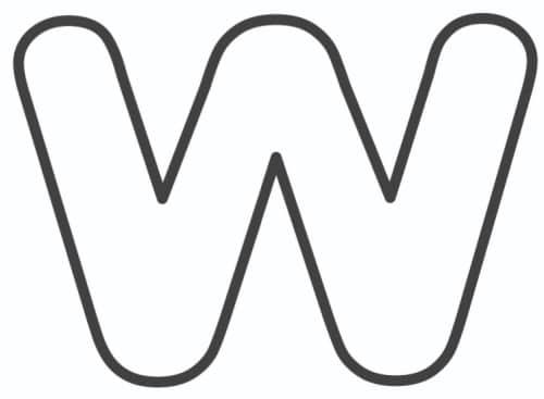 Free Printable Lowercase Bubble Letters: Lowercase W Bubble Letter