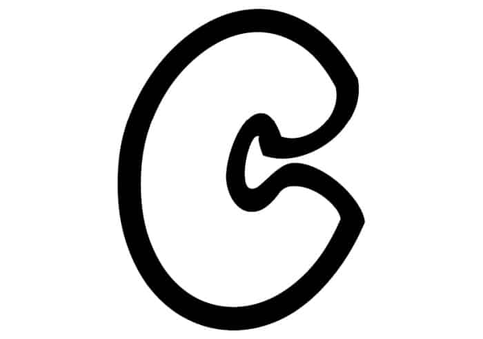 Free Printable Lowercase C Bubble Letter Stencil