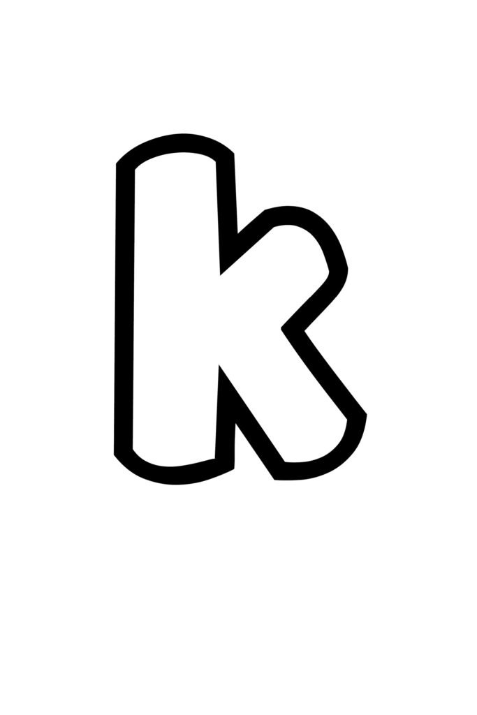 free printable lowercase K bubble letter stencil