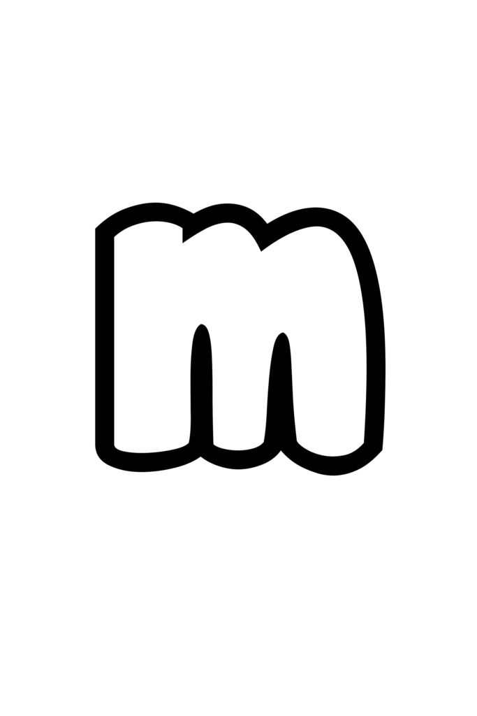free printable lowercase M bubble letter stencil