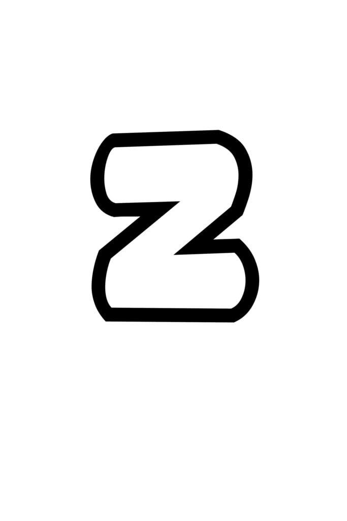 free printable lowercase Z bubble letter stencil