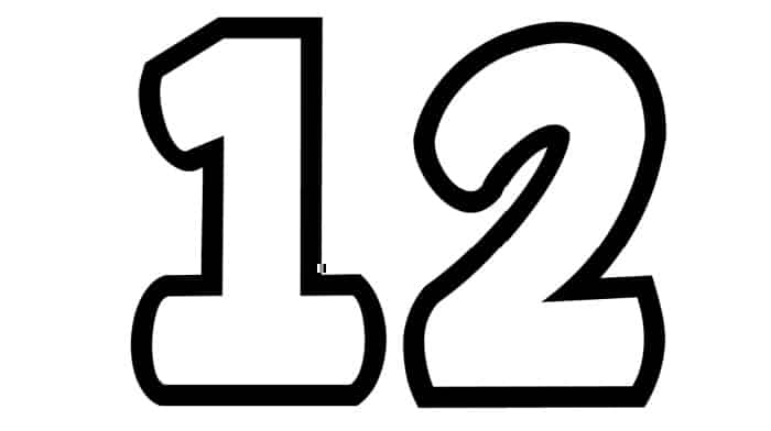 Free Printable Number Bubble Letters: Bubble Number 12