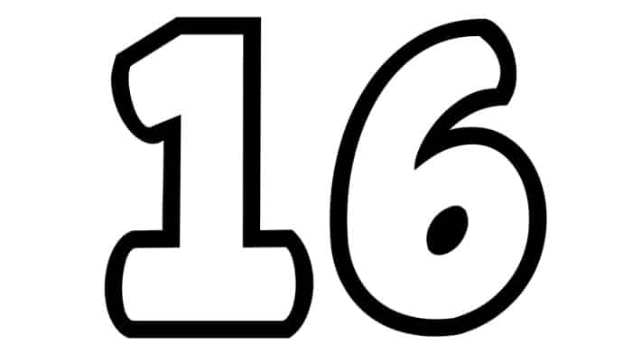 Free Printable Number Bubble Letters: Bubble Number 16