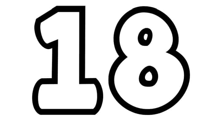 Free Printable Number Bubble Letters: Bubble Number 18