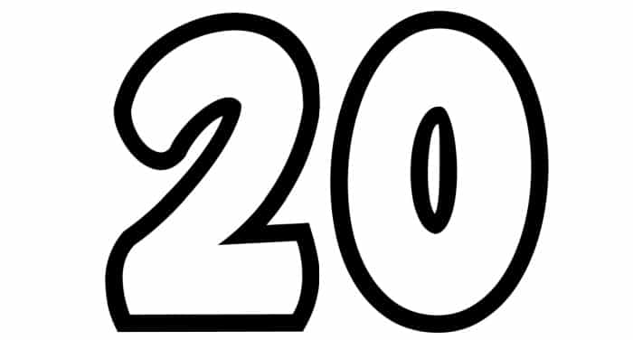 Free Printable Number Bubble Letters: Bubble Number 20