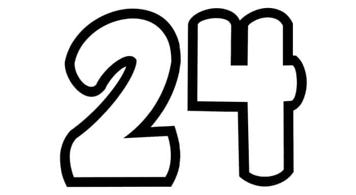 Free Printable Number Bubble Letters: Bubble Number 24