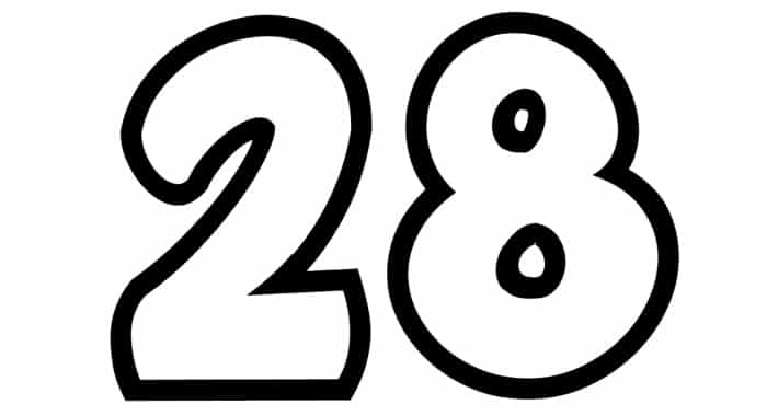 Free Printable Number Bubble Letters: Bubble Number 28