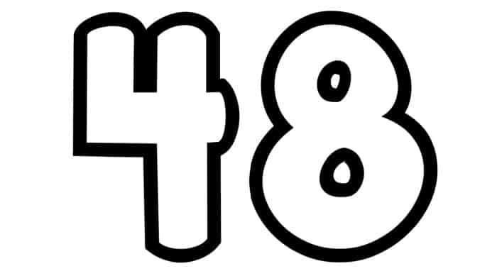 Free Printable Number Bubble Letters: Bubble Number 48