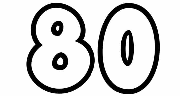 Free Printable Number Bubble Letters: Bubble Number 80
