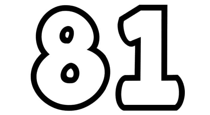 Free Printable Number Bubble Letters: Bubble Number 81
