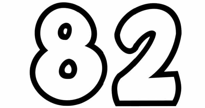 Free Printable Number Bubble Letters: Bubble Number 82