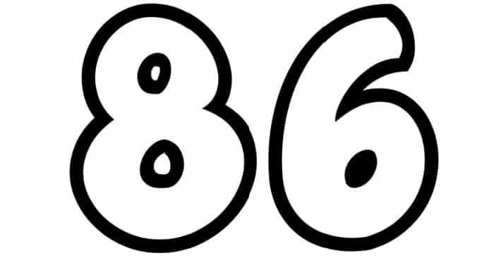 Free Printable Number Bubble Letters: Bubble Number 86