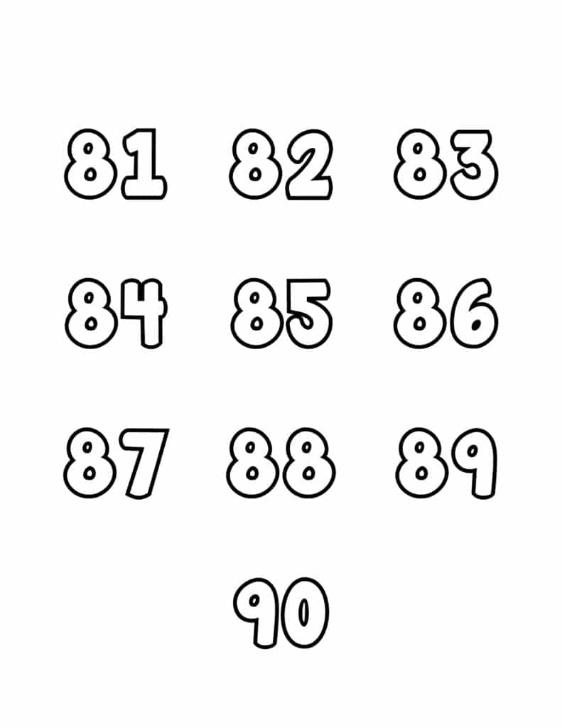 free printable number bubble letters bubble numbers set 81 - 90