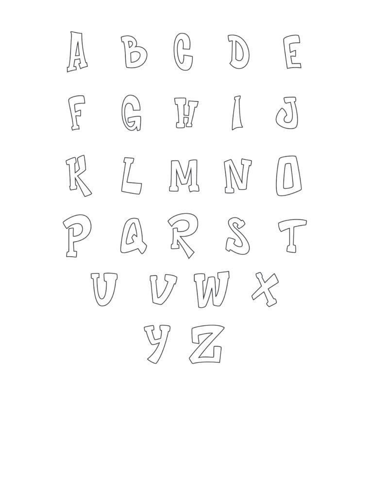 Graffiti Bubble Letters Set Printable
