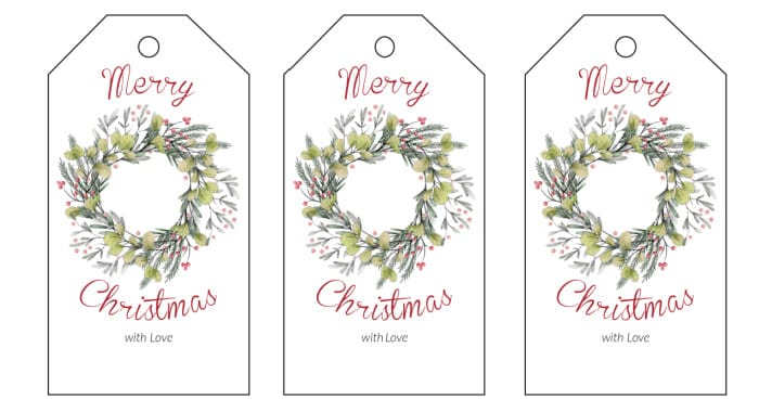 If you need a Christmas gift tags printable that's classy, look no further than this elegant Christmas wreath option!
