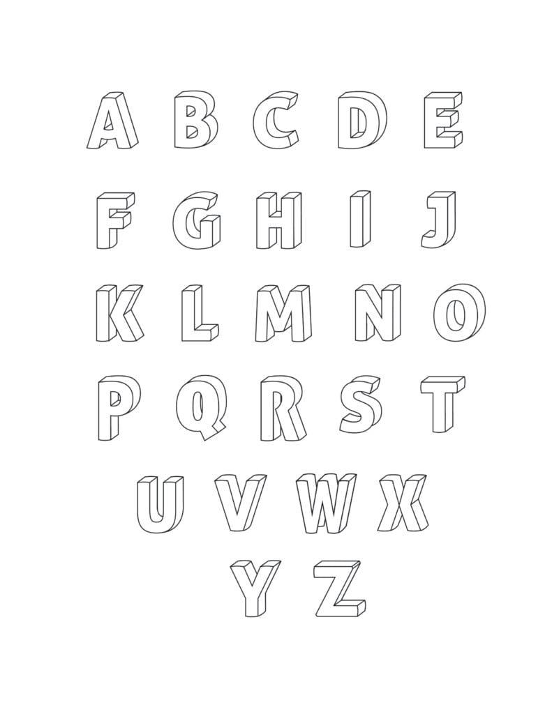 Printable 3D Bubble Letters Set