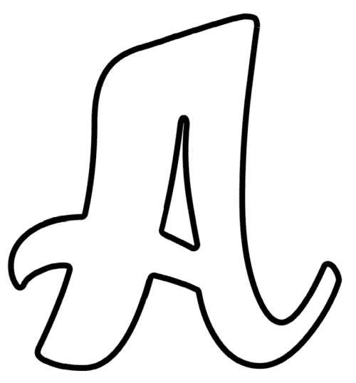 Printable Cursive Bubble Letter A