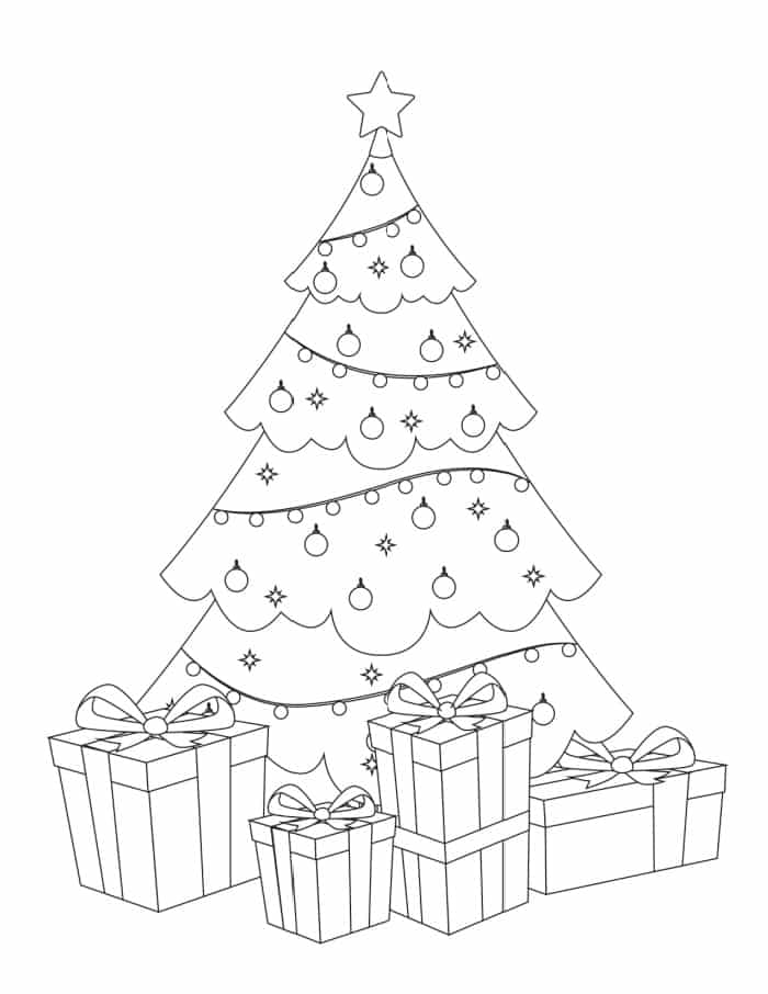 Wow; hopefully your actual tree looks as good as the tree (complete with gifts) in this free Christmas tree coloring page.