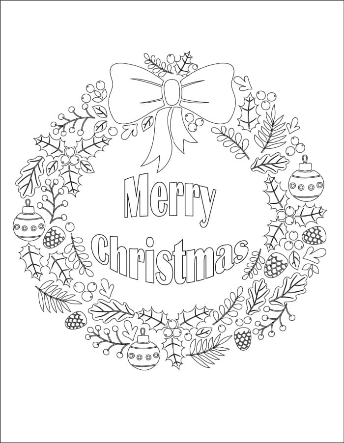 This free Christmas wreath coloring page printable bids you (and everyone that sees it) to have a Merry Christmas!