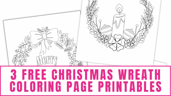 3 free Christmas wreath coloring page printables designs