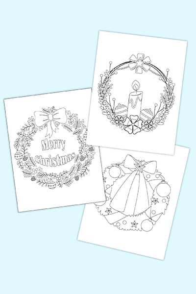 free Christmas wreath coloring pages printable downloads